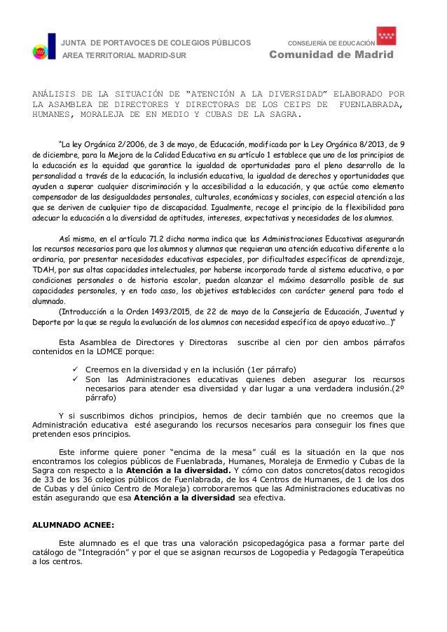 JUNTA DE PORTAVOCES DE COLEGIOS PÚBLICOS CONSEJERÍA DE EDUCACIÓN DUCA AREA TERRITORIAL MADRID-SUR Comunidad de Madrid ANÁL...