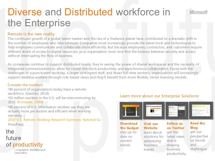 the  future  of  productivity Diverse  and  Distributed  workforce   in the Enterprise  Remote is the new reality.  The co...