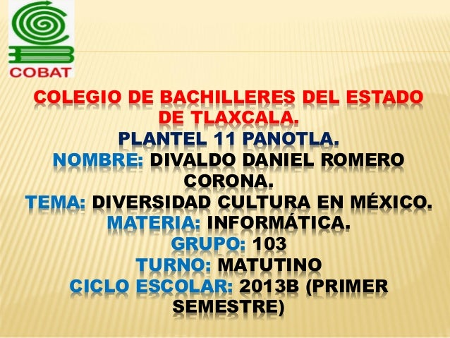 COLEGIO DE BACHILLERES DEL ESTADO DE TLAXCALA. PLANTEL 11 PANOTLA. NOMBRE: DIVALDO DANIEL ROMERO CORONA. TEMA: DIVERSIDAD ...