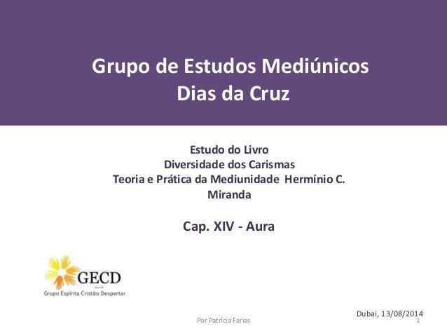 Grupo de Estudos Mediúnicos Dias da Cruz Dubai, 13/08/2014 Por Patrícia Farias 1 Estudo do Livro Diversidade dos Carismas ...