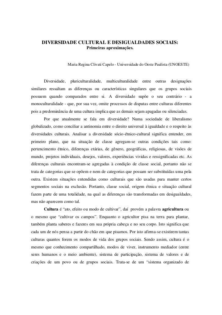 DIVERSIDADE CULTURAL E DESIGUALDADES SOCIAIS:                                 Primeiras aproximações.                     ...