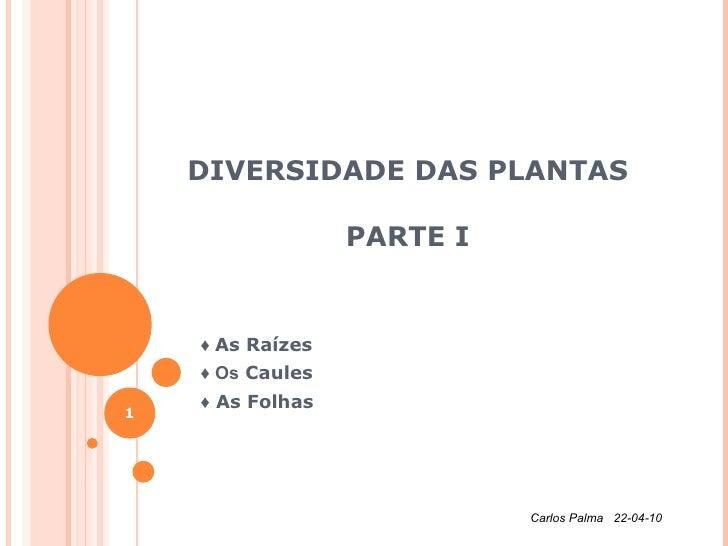 DIVERSIDADE DAS PLANTAS PARTE I ♦  As Raízes  ♦  Os  Caules ♦  As Folhas Carlos Palma  22-04-10