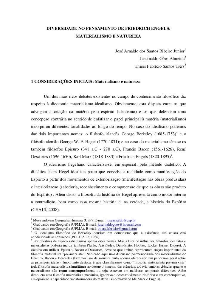 DIVERSIDADE NO PENSAMENTO DE FRIEDRICH ENGELS:                              MATERIALISMO E NATUREZA                       ...