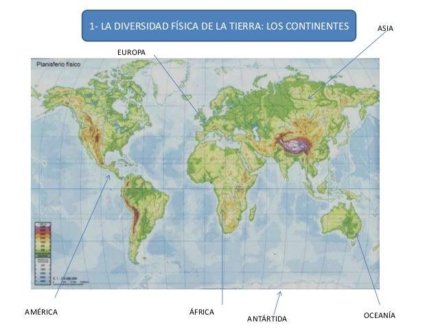 1- LA DIVERSIDAD FÍSICA DE LA TIERRA: LOS CONTINENTES  EUROPA  ASIA  ANTÁRTIDA OCEANÍA  AMÉRICA ÁFRICA