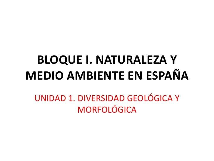 BLOQUE I. NATURALEZA YMEDIO AMBIENTE EN ESPAÑA UNIDAD 1. DIVERSIDAD GEOLÓGICA Y           MORFOLÓGICA