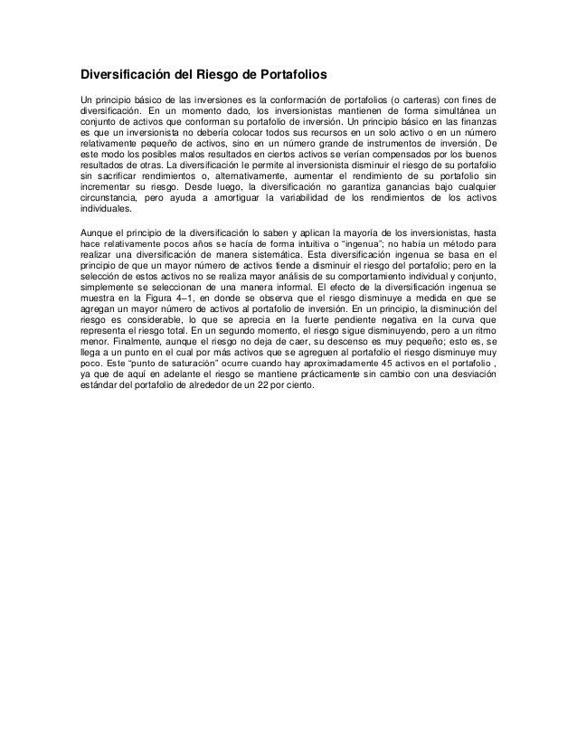 Diversificación del Riesgo de PortafoliosUn principio básico de las inversiones es la conformación de portafolios (o carte...
