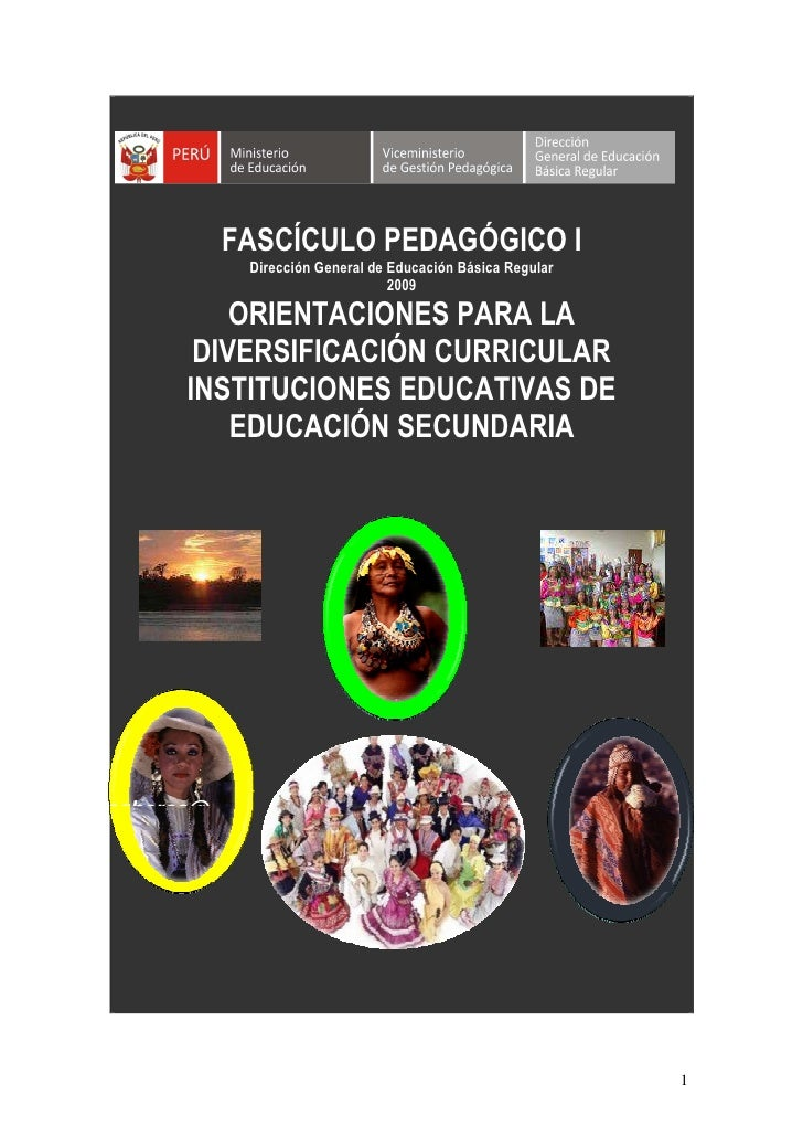 FASCÍCULO PEDAGÓGICO I                    Dirección General de Educación Básica Regular                                   ...