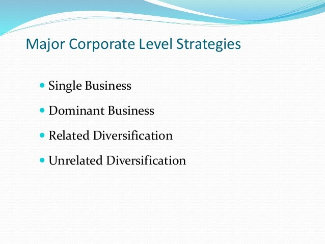 Corporate diversification strategy examples