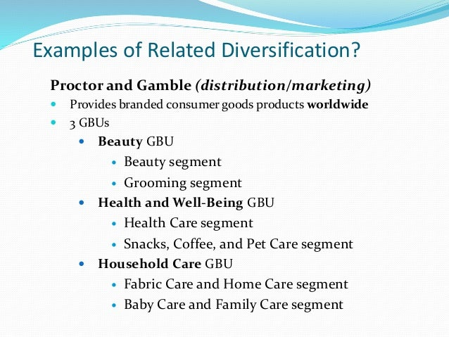 Related and unrelated diversification strategy examples