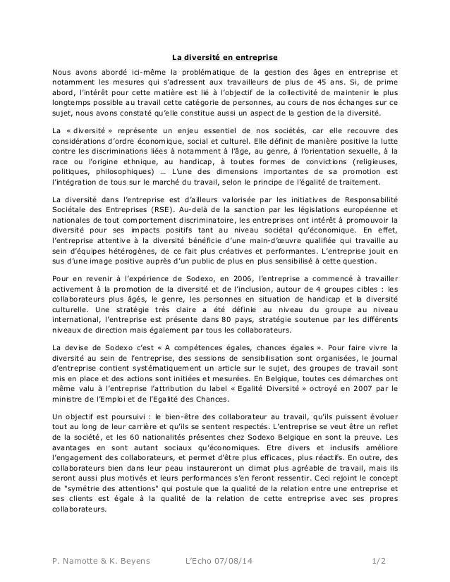 P. Namotte & K. Beyens L'Echo 07/08/14 1/2 La diversité en entreprise Nous avons abordé ici-même la problématique de la ge...