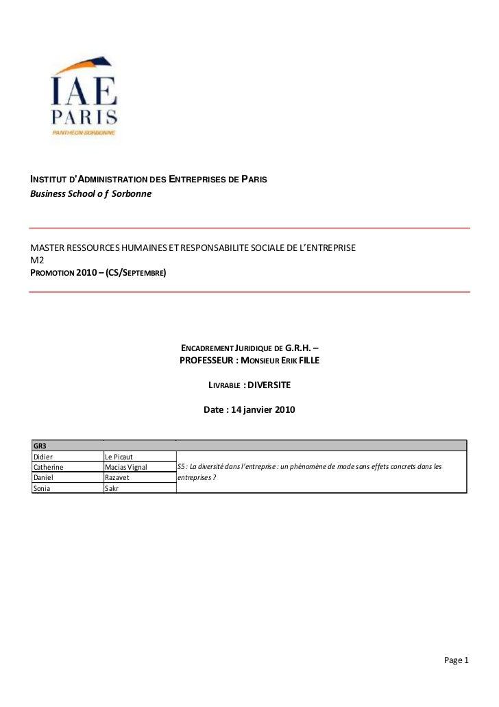 INSTITUT DADMINISTRATION DES ENTREPRISES DE PARISBusiness School o f SorbonneMASTER RESSOURCES HUMAINES ET RESPONSABILITE ...