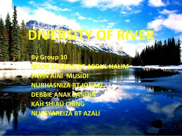 DIVERSITY OF RIVER By Group 10 NOOR ZAFIRAH BT ABDUL HALIM FATIN AINI MUSIDI NURHASNIZA BT JOHARI DEBBIE ANAK SANDIN KAH S...
