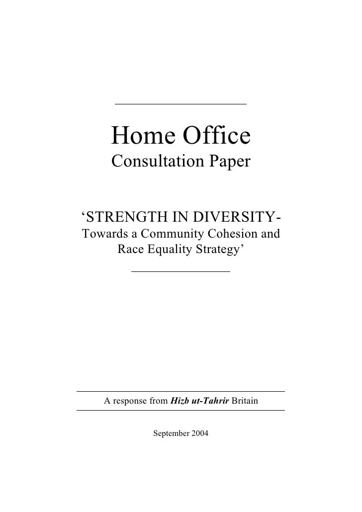 Home Office     Consultation Paper   'STRENGTH IN DIVERSITY- Towards a Community Cohesion and      Race Equality Strategy'...