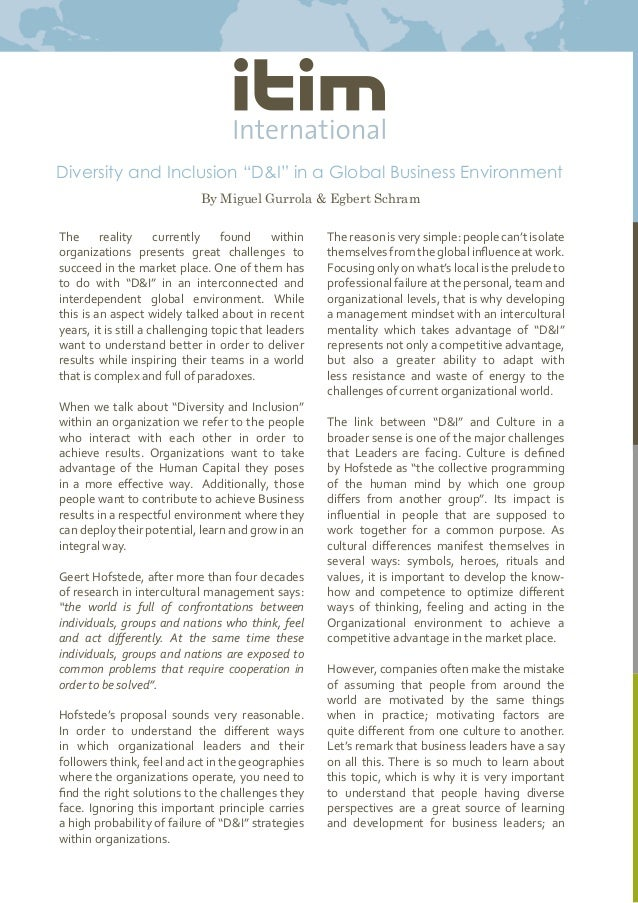 Diversity and Inclusion an Organization Emperical Study of Hul
