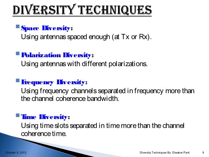 diversity and communication Waveform diversity and design conference, slide #1 short course on mimo systems diversity in communications raviraj s adve university of toronto.