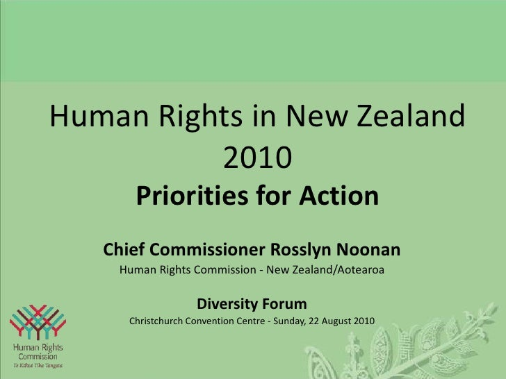 Human Rights in New Zealand2010Priorities for Action<br />Chief Commissioner Rosslyn Noonan<br />Human Rights Commission -...