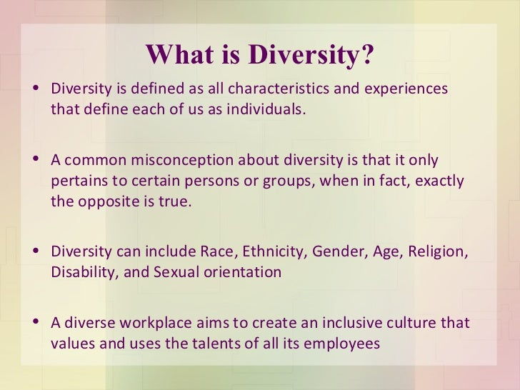 Diversity Meaning Workplace >> Diversity In The Workplace