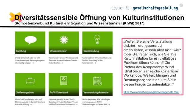 Diversität in Kultureinrichtungen (ZAK NRW, 2019) Vielfalt im Blick. Diversität in Kultureinrichtungen. Erste Ergebnisse e...