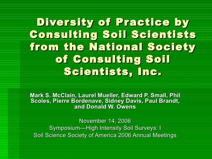 Diversity Of Soil Science Practice