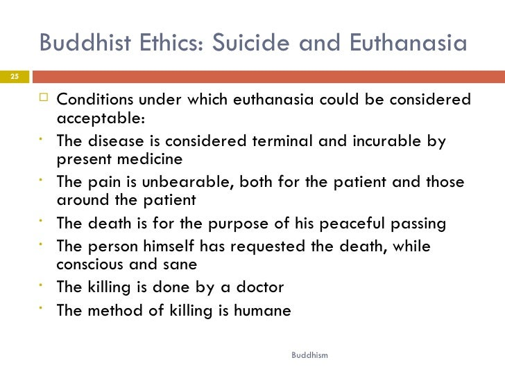 buddhism in euthanasia 2017-11-3 an introduction to buddhist ethics foundations,  one often hears that buddhism teaches that all that happens to us is  euthanasia.