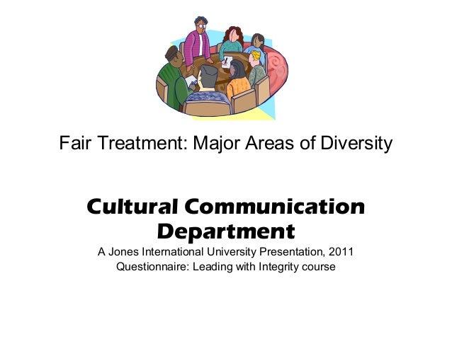 Fair Treatment: Major Areas of Diversity  Cultural Communication Department A Jones International University Presentation,...