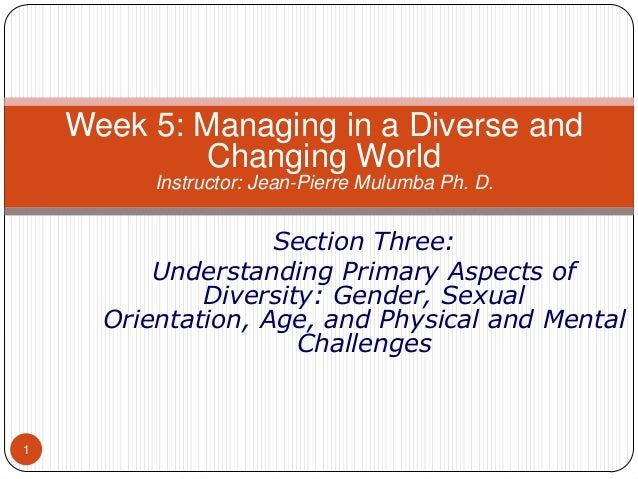 Week 5: Managing in a Diverse and Changing World Instructor: Jean-Pierre Mulumba Ph. D.  Section Three: Understanding Prim...