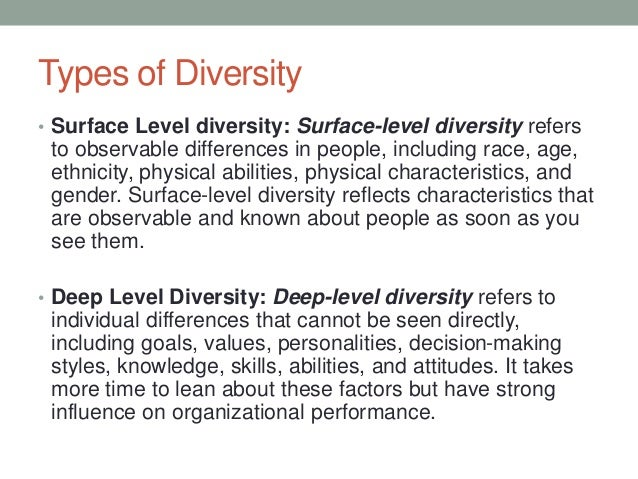 surface levl diversity and deep level We will write a custom essay sample on surface level diversity and deep level diversity  sample on surface level diversity and deep level  surface  we have .