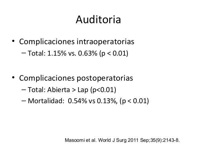 Auditoria • Complicaciones intraoperatorias – Total: 1.15% vs. 0.63% (p < 0.01) • Complicaciones postoperatorias – Total: ...