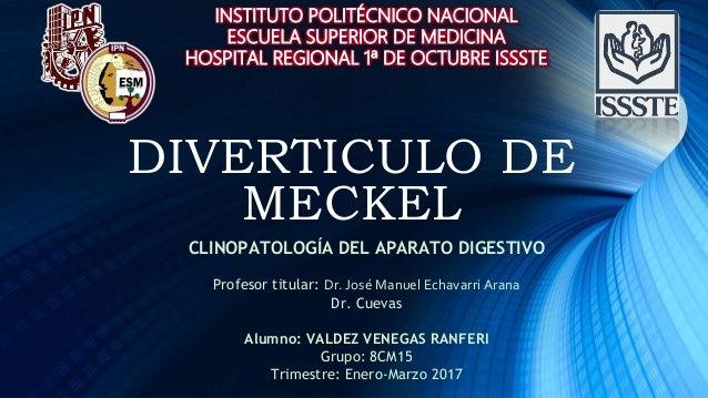 DIVERTICULO DE MECKEL CLINOPATOLOGÍA DEL APARATO DIGESTIVO Profesor titular: Dr. José Manuel Echavarri Arana Dr. Cuevas Al...