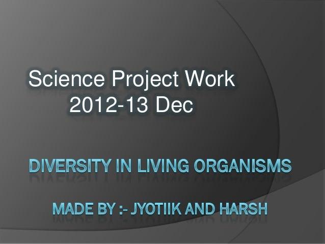 Science Project Work    2012-13 Dec