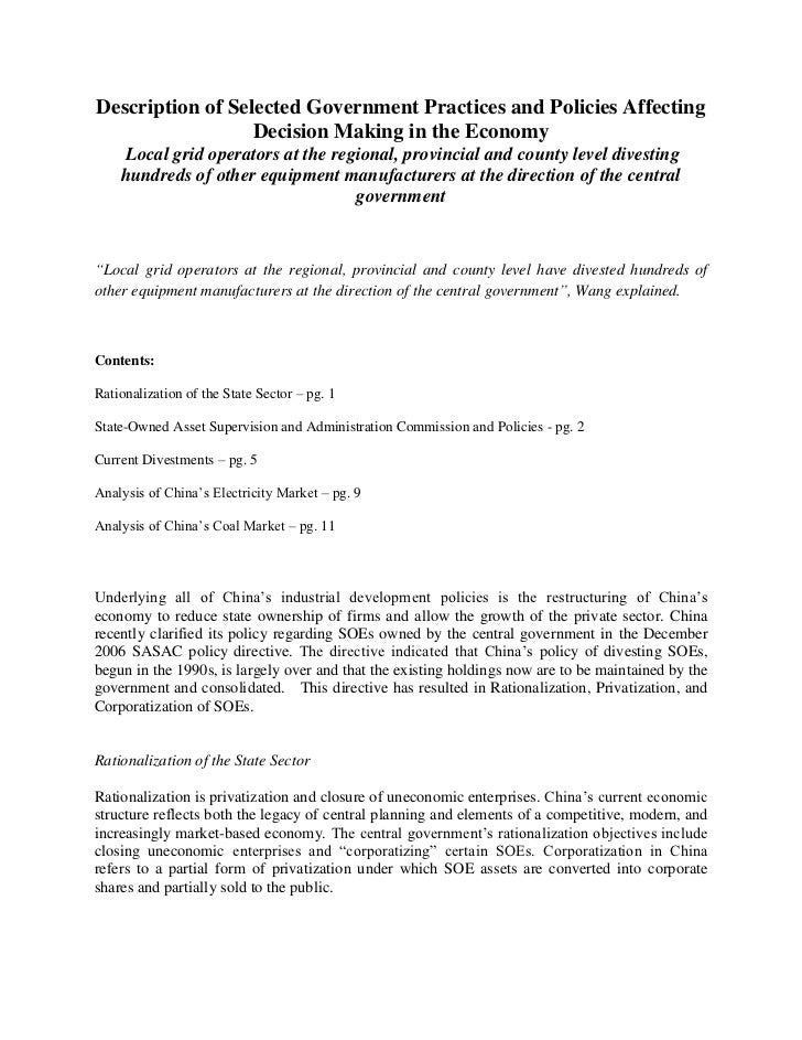 Description of Selected Government Practices and Policies Affecting                  Decision Making in the Economy     Lo...