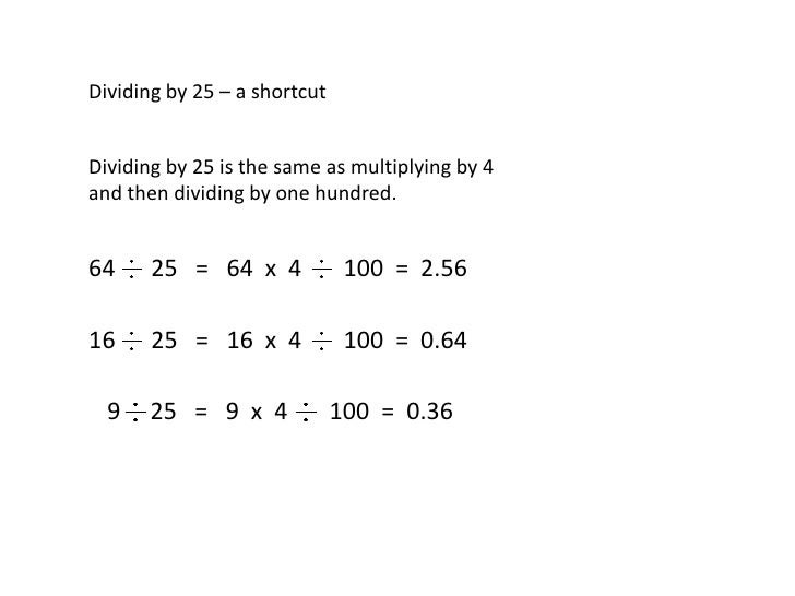 math shortcut for dividing a number by