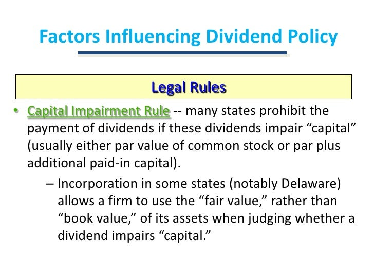 dividend decision Dividend policy is the set of guidelines a company uses to decide how much of its earnings it will pay out to shareholders.