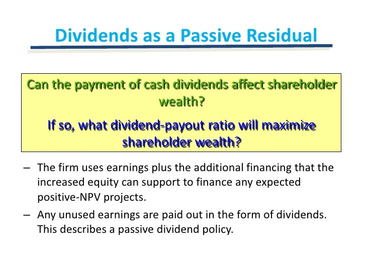 npv maximizing shareholders wealth Investment appraisal, part i: payback periods, arr, npv additional wealth for shareholders on top of the wealth a will maximize shareholder wealth.