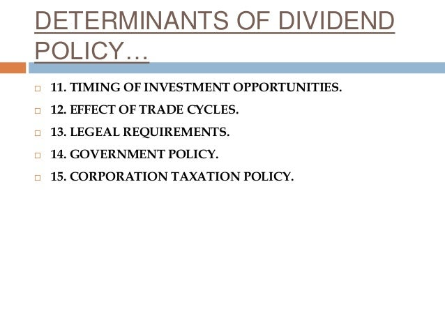 dividend policy determinants This paper investigates the determinants of dividend policies for firms listed on gulf co-operation council (gcc) country stock exchanges this is a case stu.