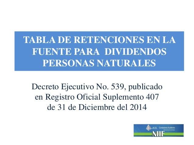 TABLA DE RETENCIONES EN LA FUENTE PARA DIVIDENDOS PERSONAS NATURALES Decreto Ejecutivo No. 539, publicado en Registro Ofic...