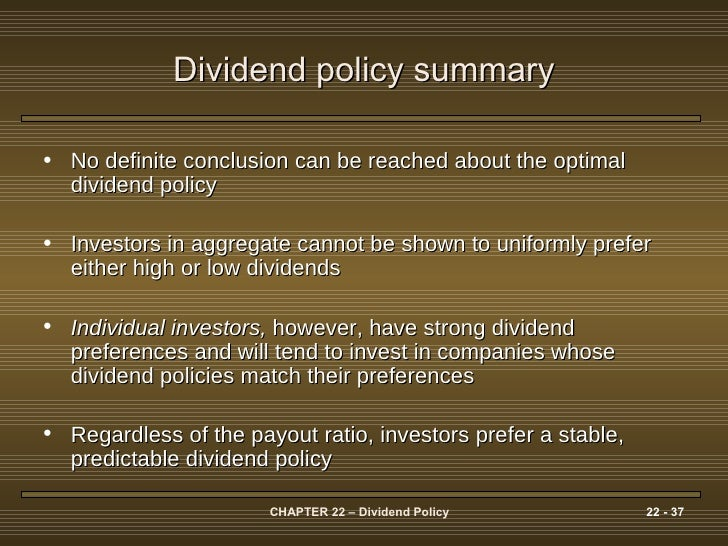 dividend payout policy individual assignment Dividend policy and share prices introduction in this paper the impact of dividend policy of the companies on the firm's share prices is analysed and different views in the context of the semi-strong form of the efficient market hypothesis are contrasted.
