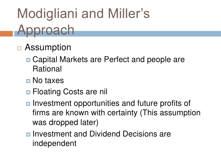 modigliani miller approach