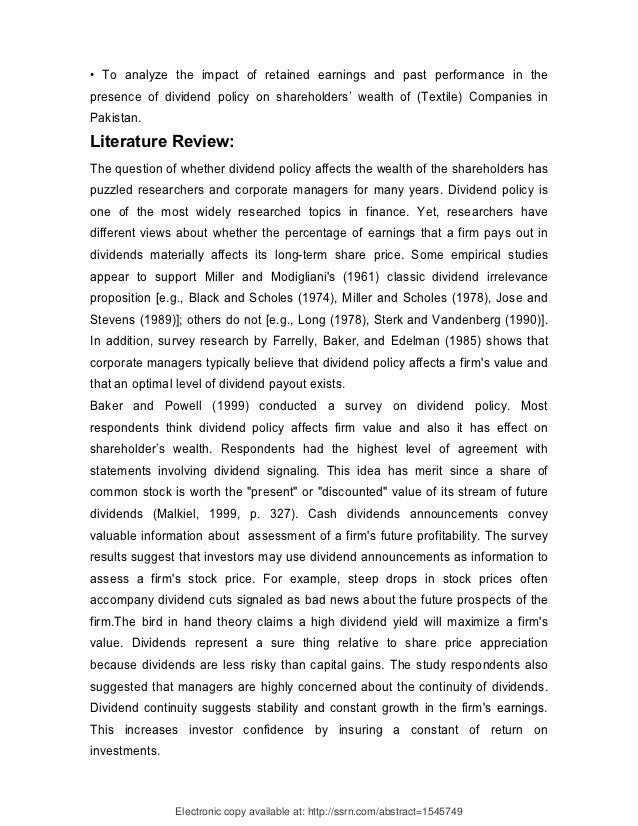literature review on increasing the wealth of shareholders Literature review chapter 2 the rationale for mergers and acquisitions 21 introduction 9 22the hypotheses of mergers and acquisition 1s 0  positive or negative wealth effect for shareholders of firms involved the hubris theory hypothesises that mergers and acquisitions affect the value of the firms as well as.