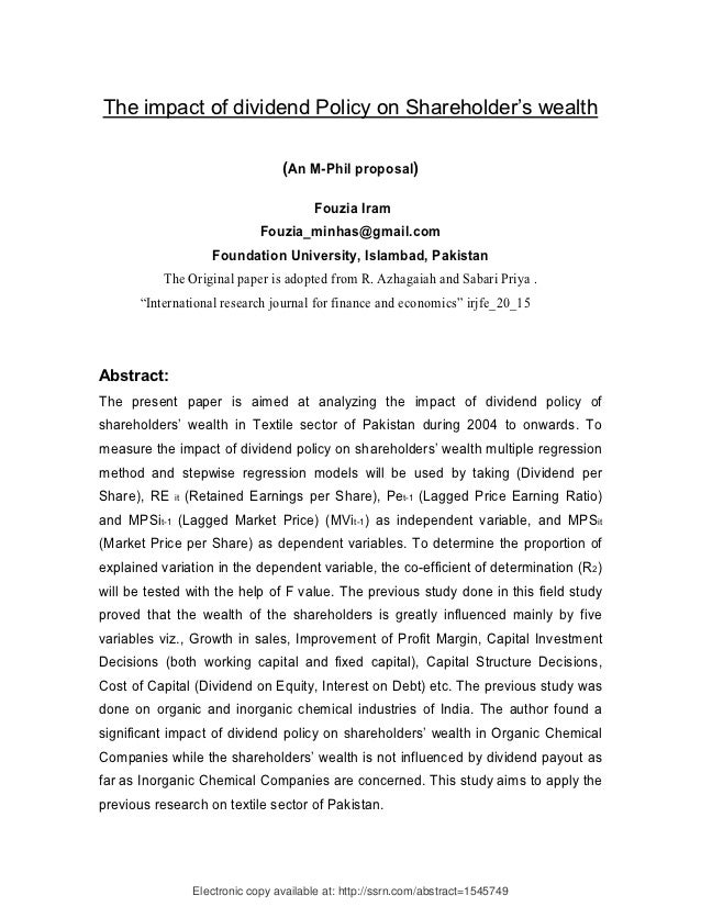 Dividend Policy Paper Essay Sample