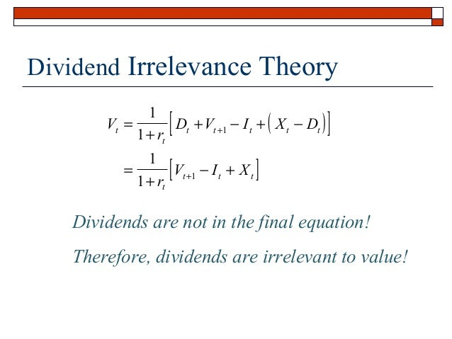 dividend irrelevance theory 368 a summary view of dividend policy theories 37 dividend  dividend  relevance and irrelevance are as follows: 371 modigliani miller.