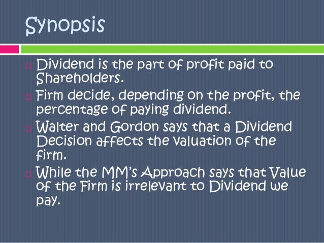 effect of dividend policy on shareholders wealth This study examines the effect of dividend policy on firm's returns using   keywords: dividend policy, earnings per share, shareholders wealth,.