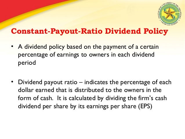 finance and dividend payout policy Dividend policy connotes to the payout policy, which managers pursue in deciding the size and pattern of cash  corporate finance dividend is the return that .