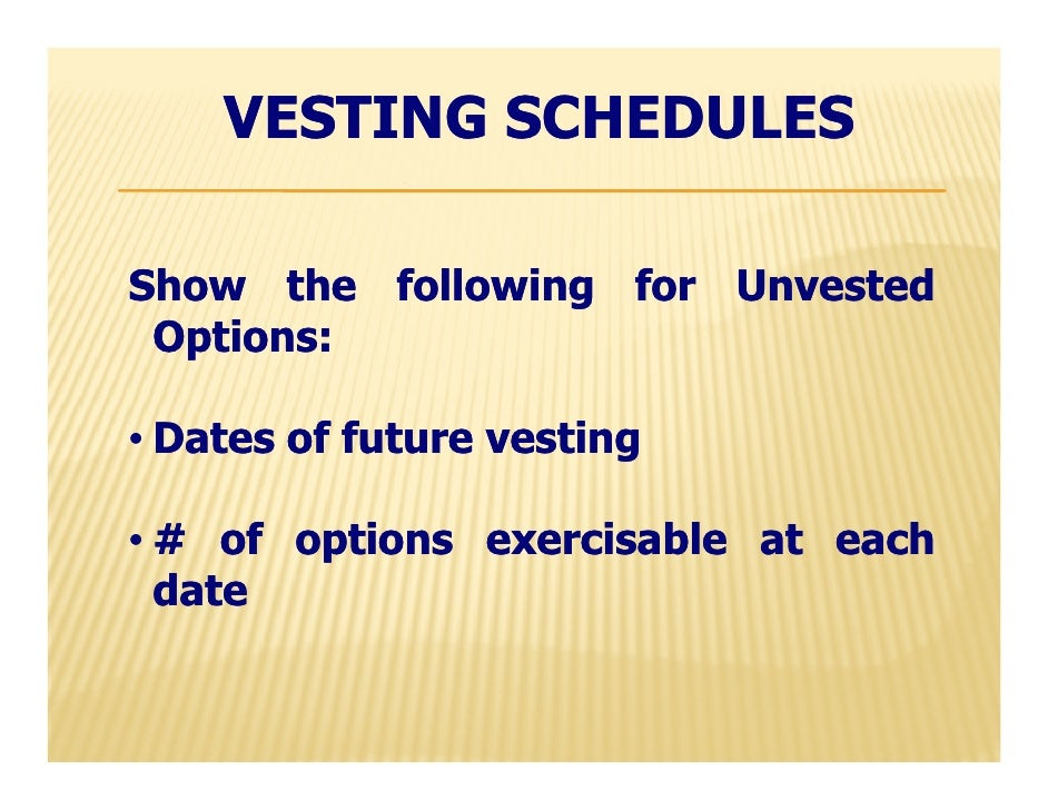 Vesting stock options accounting