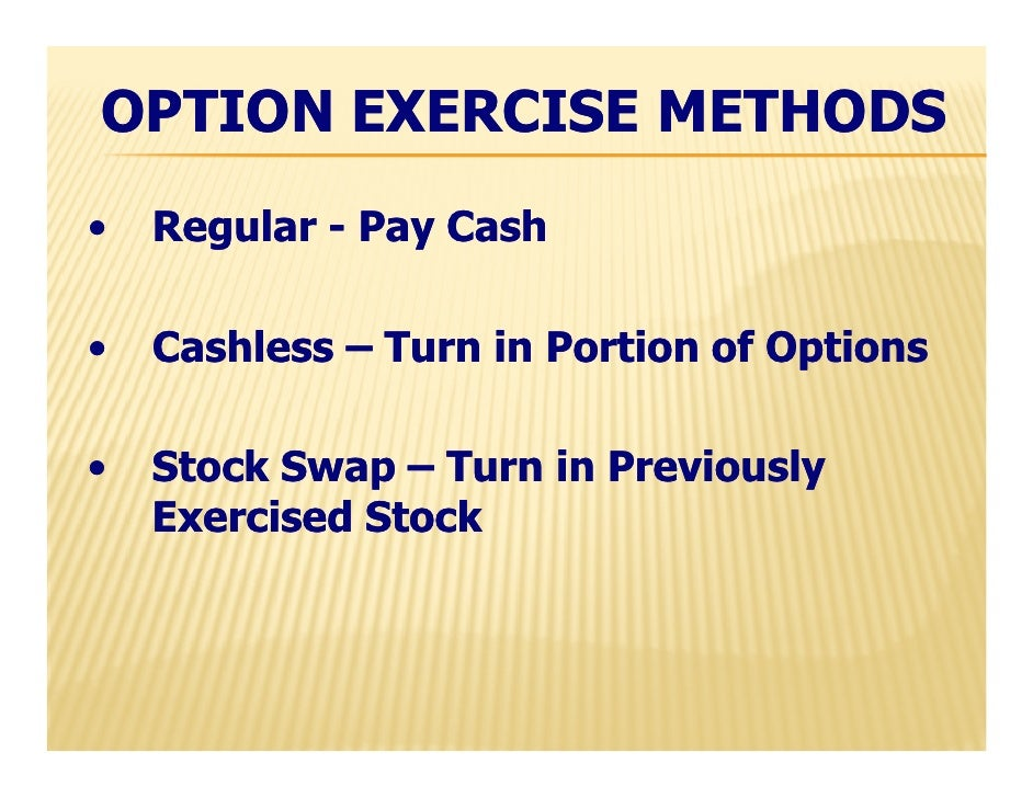 Cashless exercise stock options taxes