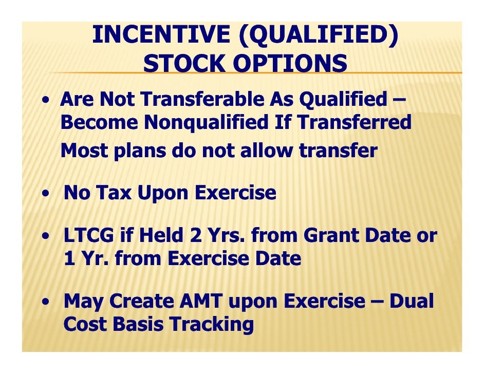 Incentive stock options amt tax