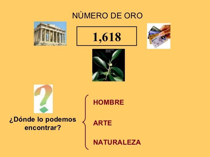 1,618 HOMBRE ARTE NATURALEZA ¿Dónde lo podemos encontrar? NÚMERO DE ORO