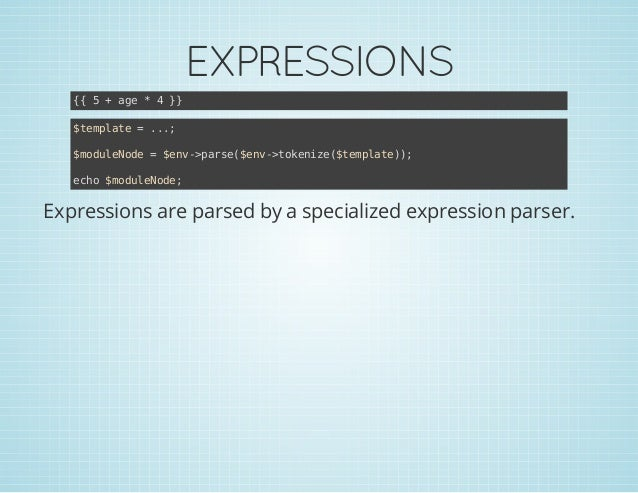 EXPRESSIONS { 5+ae*4} { g } $epae=.. tmlt .; $oueoe=$n-pre$n-tknz(tmlt); mdlNd ev>as(ev>oeie$epae) eh $oueoe co mdlNd;  Ex...