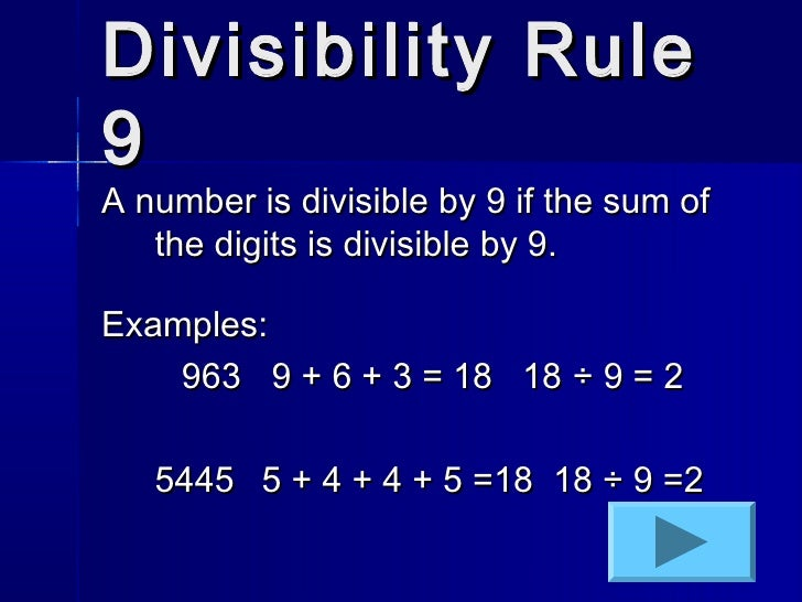what are the divisibility rules for 9