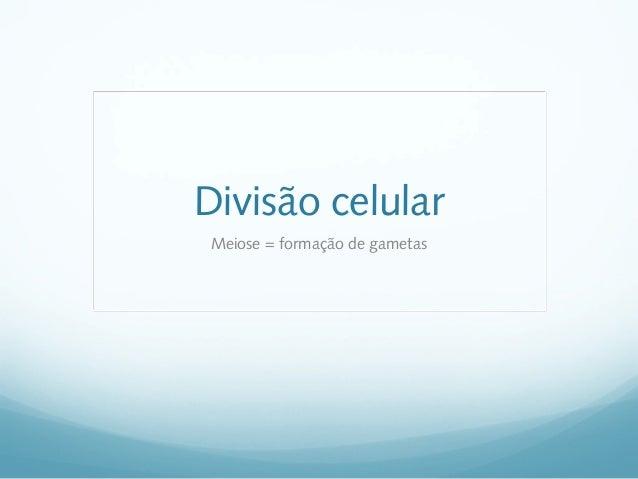 Divisão celularMeiose = formação de gametas